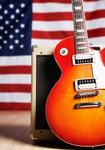 American music: guitar with US flag