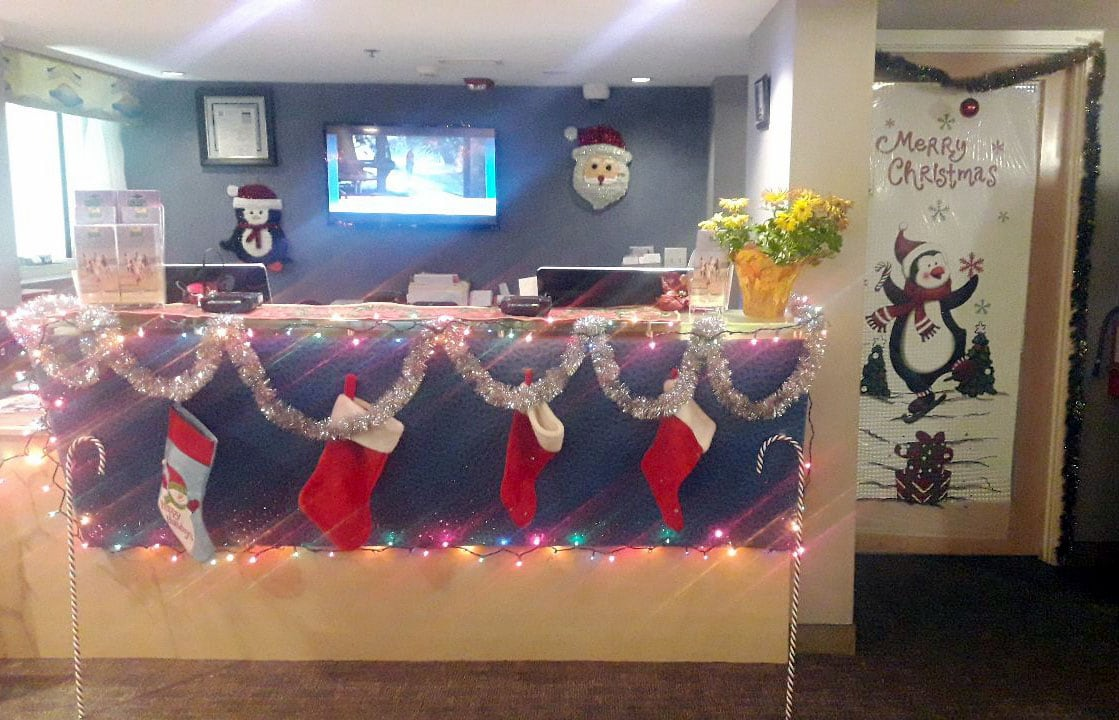 holiday decorations at hotel front desk