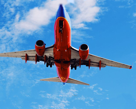 southwest airlines airplane in sky