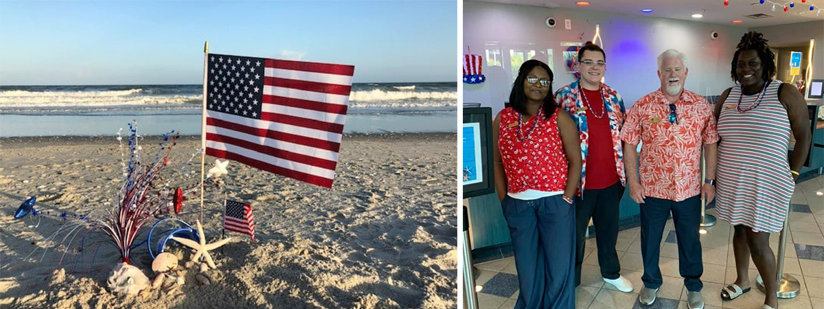 A collage of 4th of july pics with the front desk staff and an american flag in the sand on the beach.