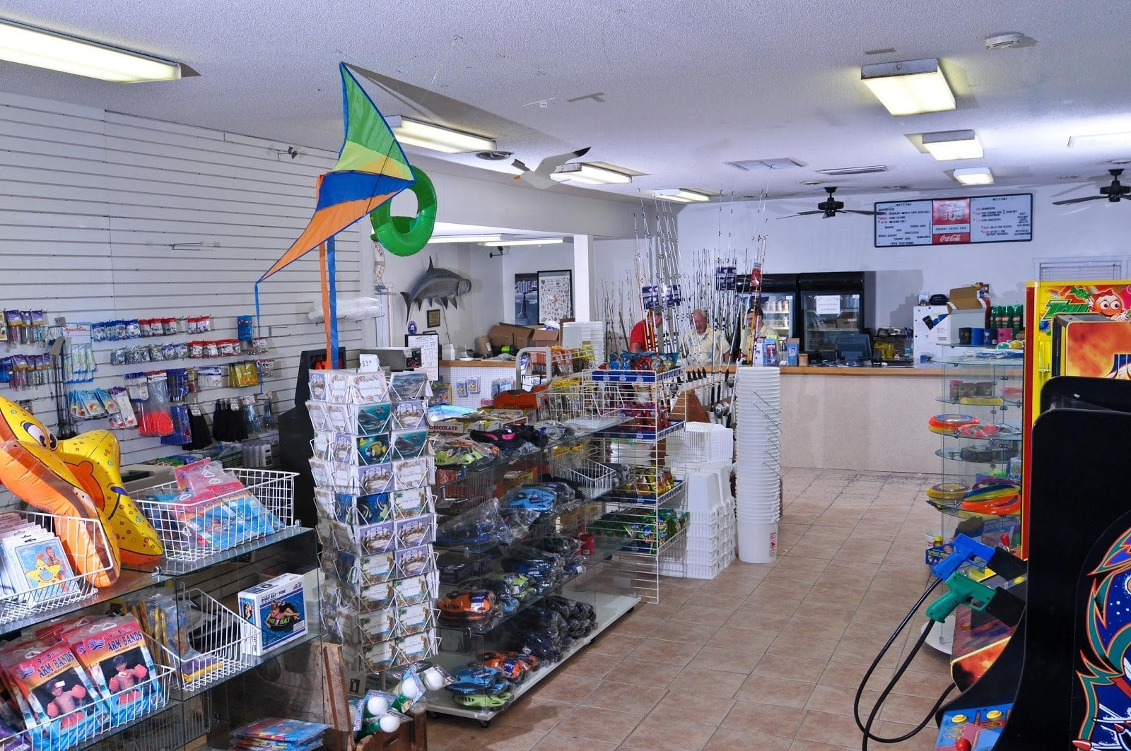 A tackle shop with rods and fishing gear.