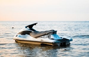 A jetski in the middle of open water.