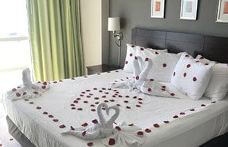 Room decorated for Valentine's Day at prince resort